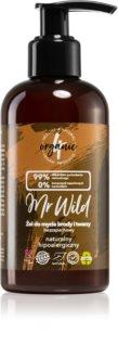 4Organic Mr. Wild Fragrance Free čistilni gel za brado, obraz in lase