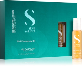 Alfaparf Milano Semi di Lino Reconstruction SOS Emergency Oil Reconstructing Treatment For Damaged Hair In Ampoules