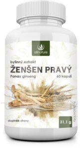 Allnature Ženšen bylinný extrakt potravinový doplněk pro posílení imunity a podporu paměti