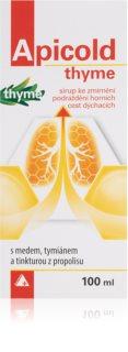 Apicold Thyme sirup bylinný prostředek pro zklidnění zánětů horních cest dýchacích