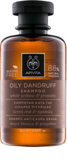Apivita Holistic Hair Care White Willow & Propolis champú anticaspa para cabello graso