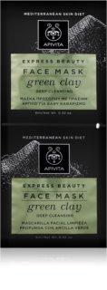 Apivita Express Beauty Green Clay hĺbkovo čistiaca pleťová maska pre rozjasnenie pleti