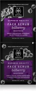 Apivita Express Beauty Bilberry peeling suave de pele para iluminação de pele instantânea