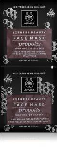 Apivita Express Beauty Propolis μάσκα για βαθύ καθαρισμό για λιπαρή επιδερμίδα
