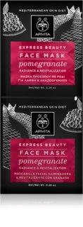 Apivita Express Beauty Pomegranate revitalizačná pleťová maska pre okamžité rozjasnenie