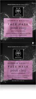 Apivita Express Beauty Pink Clay jemná čistiaca pleťová maska pre okamžité rozjasnenie