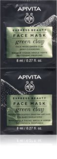 Apivita Express Beauty Green Clay máscara facial purificante com argila verde