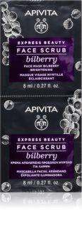 Apivita Express Beauty Bilberry intenzív tisztító peeling az élénk bőrért