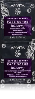 Apivita Express Beauty Bilberry peeling de limpeza intensivo para pele radiante