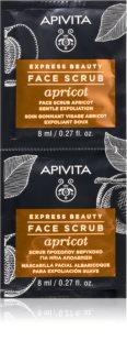 Apivita Express Beauty Apricot peeling de limpeza suave para rosto