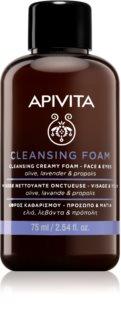 Apivita Cleansing Olive & Lavender почистваща пяна  за лице и очи