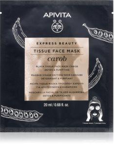 Apivita Express Beauty Carob Detox-Tuchmaske mit feuchtigkeitsspendender Wirkung