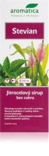 Aromatica Stévian jitrocelový sirup se stévií pomoc při kašli a nachlazení, usnadnění odkašlávání