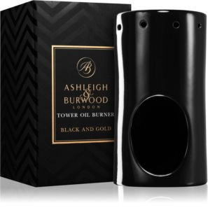 Ashleigh & Burwood London Black and Gold lampă aromaterapie din sticlă