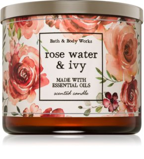 Bath & Body Works Rose Water & Ivy vela perfumada  con aceites esenciales