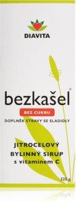 BEZKAŠEL Jitrocelový bylinný sirup bez cukru doplněk stravy pro zdravý krk, hltan a hlasivky