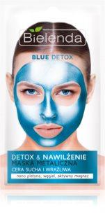 Bielenda Metallic Masks Blue Detox αποτοξινωτική και ενυδατική μάσκα για ξηρή και ευαίσθητη επιδερμίδα