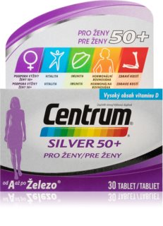 Centrum SILVER 50+ pro ženy doplněk stravy s kompletní řadou vitamínů, minerálů a stopových prvků pro zdraví a pohodu žen nad 50 let