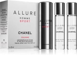 Chanel Allure Homme Sport Cologne Eau de Cologne ((1x påfyllningsbar + 2x påfyllning)) för män