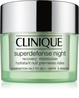 Clinique Superdefense™ Night Recovery Moisturizer hydratačný nočný krém proti vráskam pre mastnú a zmiešanú pleť