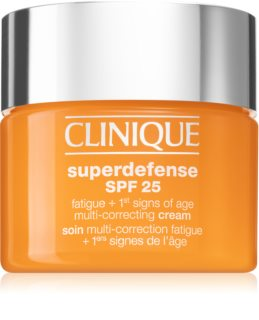 Clinique Superdefense™ SPF 25 Fatigue + 1st Signs Of Age Multi-Correcting Cream крем против първи белези на стареене за суха и смесена кожа
