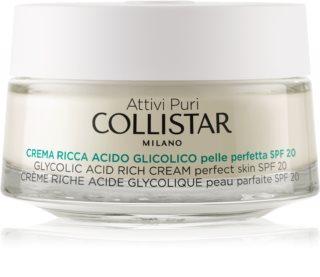 Collistar Pure Actives Glycolic Acid creme nutritivo para restaurar a densidade da pele com efeito iluminador