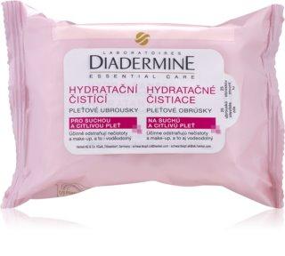 Diadermine Essentials toalhetes de limpeza facial para pele seca e sensível