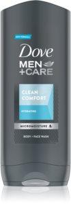 Dove Men+Care Clean Comfort feuchtigkeitsspendendes Duschgel für Gesicht, Körper und Haare