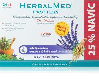 Dr.Weiss HerbalMed pastilky Šalvěj+ ženšen s vitaminem C doplněk stravy  při zánětu v krku a dutině ústní