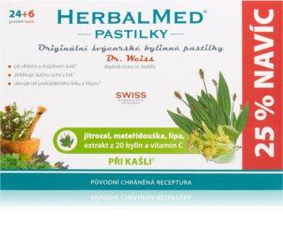 Dr.Weiss HerbalMed pastilky Jitrocel + mateřídouška + lípa + vitamin C pastilky při zánětu v krku a dutině ústní