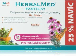 Dr.Weiss HerbalMed pastilky Echinacea + rakytník + vitamin C doplněk stravy  při zánětu v krku a dutině ústní