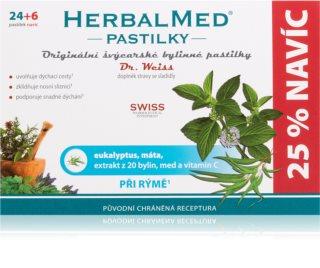 Dr.Weiss HerbalMed pastilky Eukalypt + máta + vitamin C pastilky při zánětu v krku a dutině ústní