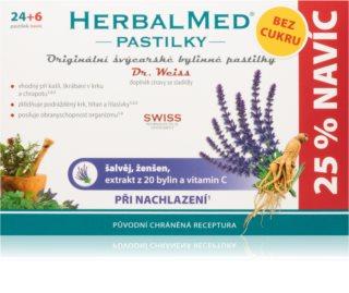 Dr.Weiss HerbalMed pastilky Šalvěj + ženšen s vitaminem C BEZ CUKRU doplněk stravy  při zánětu v krku a dutině ústní