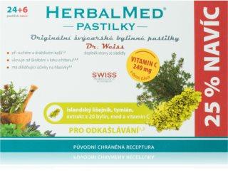 Dr.Weiss HerbalMed pastilky Islandský lišejník + tymián + med + vitamin C doplněk stravy  při zánětu v krku a dutině ústní