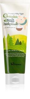 Elizavecca Milky Piggy Greentea Salt Body Scrub Purifying  Body Peeling with Green Tea