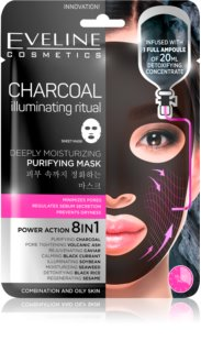 Eveline Cosmetics Charcoal Illuminating Ritual masque en tissu ultra hydratant et purifiant