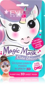 Eveline Cosmetics Magic Mask Cute Unicorn textilná 3D hĺbkovo čistiaca maska