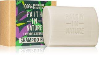 Faith In Nature Lavender & Geranium οργανικό στερεό σαμπουάν με λεβάντα