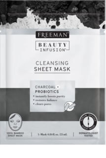 Freeman Beauty Infusion Charcoal + Probiotics reinigende sheet mask met actieve kool  voor alle huidtypen