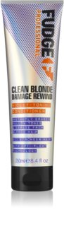 Fudge Clean Blonde Damage Rewind acondicionador tonificante para cabello rubio