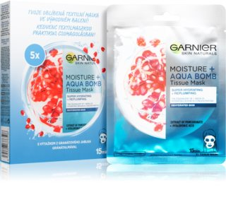 Garnier Skin Naturals Moisture+Aqua Bomb Tuchmasken-Set 5 ks