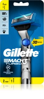 Gillette Mach3 Turbo Champions League Barberkniv + 2 erstatningshoveder