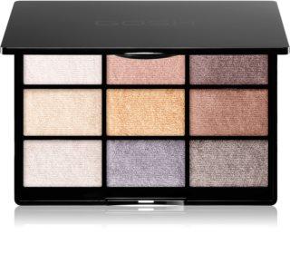 Gosh 9 Shades Palette paleta de sombras de ojos con un espejo pequeño