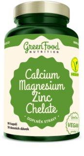 GreenFood Nutrition Vápník + Hořčík + Zinek Chelát Vegan doplněk stravy pro zdravé kosti