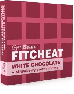 GymBeam Fitcheat Protein Chocolate bílá čokoláda s proteinem příchuť  strawberry