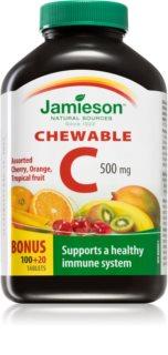 Jamieson Vitamín C 500 mg žvýkací tablety 3 ovocné příchutě podpora imunitního systému