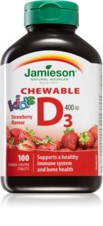 Jamieson Vitamín D3 Kids jahoda žvýkací pro optimální růst a vývin kostí u dětí