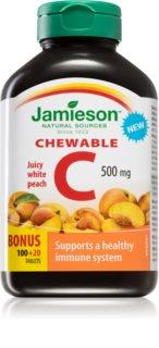 Jamieson Vitamín C 500 mg tablety na žvýkání  s příchutí broskve podpora normální funkce imunitního systému