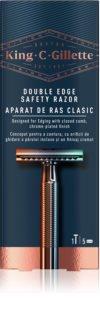 King C. Gillette Double Edge Safety Rasor  Barberingsmaskine + barberblade 5 stk.
