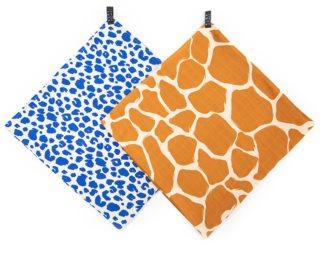 KLRK Home Wild Color Leopard&Giraffe Stoffwindeln 96x96 cm